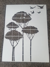 FLYING BIRDS IN TREES Sizes Reusable Stencil Shabby Chic Romantic Style 'Bird105'