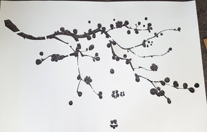BALL FLOWERS TREE BRANCH Sizes Reusable Stencil Oriental Shabby Chic 'Tree18'
