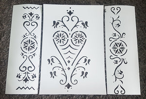 FOLKLORE ORNAMENTS SET Sizes Reusable Stencil Ornaments Romantic Style 'Folk1'