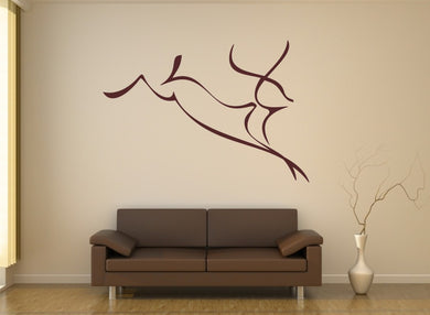 ANTELOPE SKETCH Big & Small Sizes Colour Wall Sticker Animal Romantic Style 'Kids65'