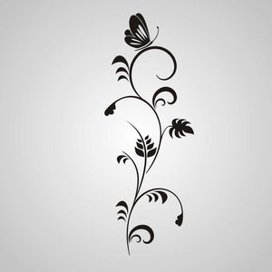 FLORA WITH BUTTERFLY Big & Small Sizes Colour Wall Sticker Shabby Chic Romantic Style 'J7'