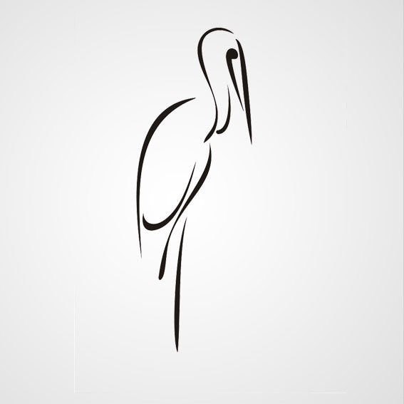 STANDING HERON ARTISTIC SKETCH Sizes Reusable Stencil Animal Kids Room 'Kids144'
