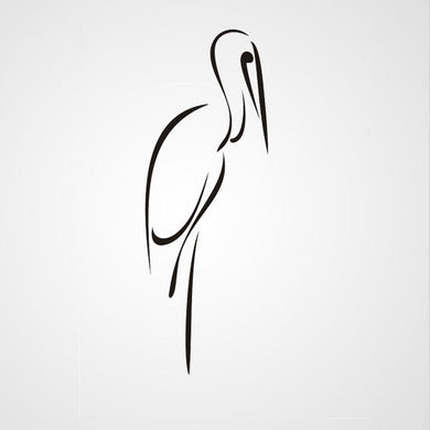 STANDING HERON ARTISTIC SKETCH Big & Small Sizes Colour Wall Sticker Animal Kids Room 'Kids144'