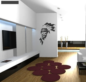RED MAN INDIAN Big & Small Sizes Colour Wall Sticker Travel Oriental Modern Style 'P11'
