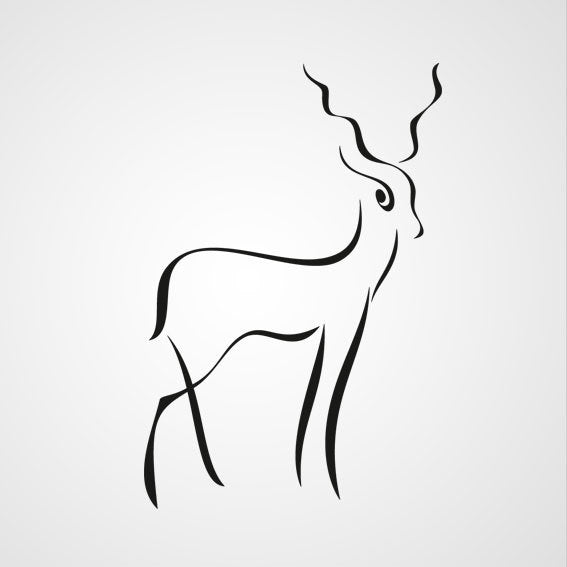 GAZELLE ARTISTIC SKETCH Big & Small Sizes Colour Wall Sticker Animal Kids Room Modern 'Kids129'
