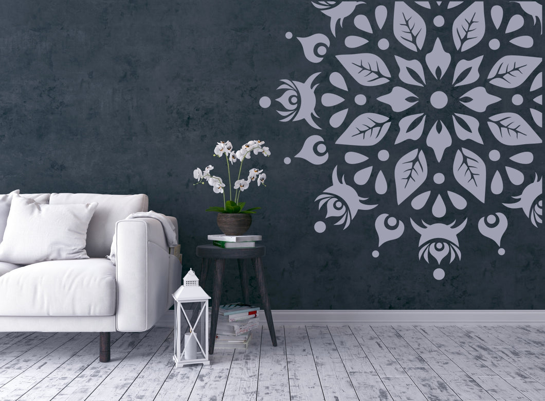 Mandala Leaves Floral Round Big & Small Sizes Colour Wall Sticker Oriental Shabby Chic Romantic / M30
