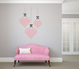 FLOWERS IN HEARTS Big & Small Sizes Colour Wall Sticker Shabby Chic Romantic Style 'Deco10'