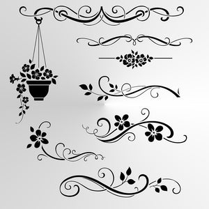 SET OF FLOWERS BORDERS Sizes Reusable Stencil Shabby Chic Romantic Style 'Deco4'