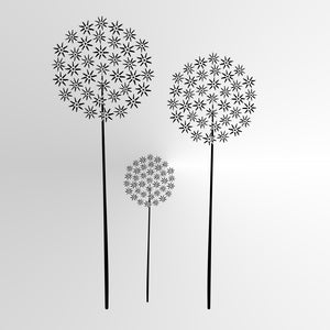 THREE DANDELIONS Sizes Reusable Stencil Shabby Chic Romantic Style 'Flora25'