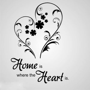 ,,HOME IS WHERE THE HEART IS'' QUOTE Big & Small Sizes Colour Wall Sticker Modern Style 'N82'