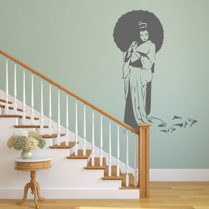 GEISHA WITH AN UMBRELLA Big & Small Sizes Colour Wall Sticker Travel Oriental Modern Style 'P9'