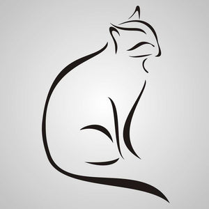 ARTISTIC CAT SKETCH Sizes Reusable Stencil Animal Romantic Style 'Animal93'