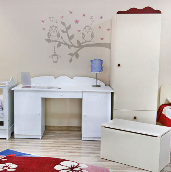 CRAZY OWLS ON BRANCH KIDS ROOM Big & Small Sizes Colour Wall Sticker Animal Modern Style 'Kids4'