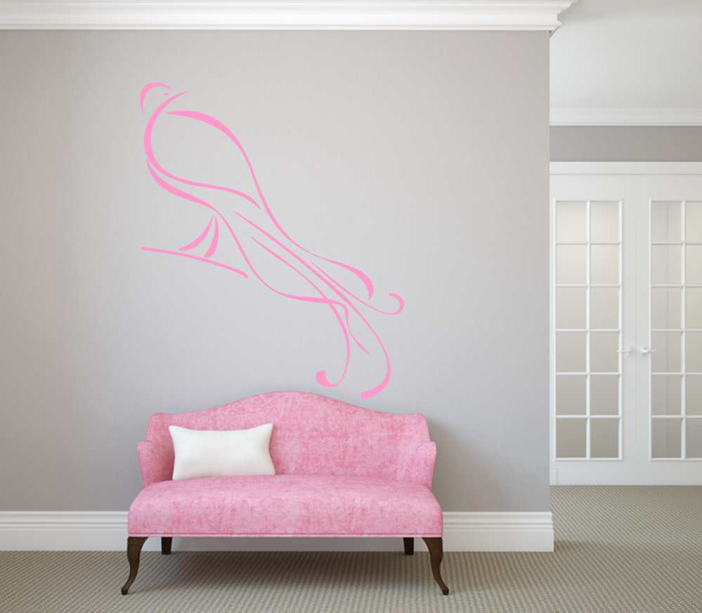 ARTISTIC PEACOCK SKETCH Big & Small Sizes Colour Wall Sticker Animal Romantic Style 'Bird18'