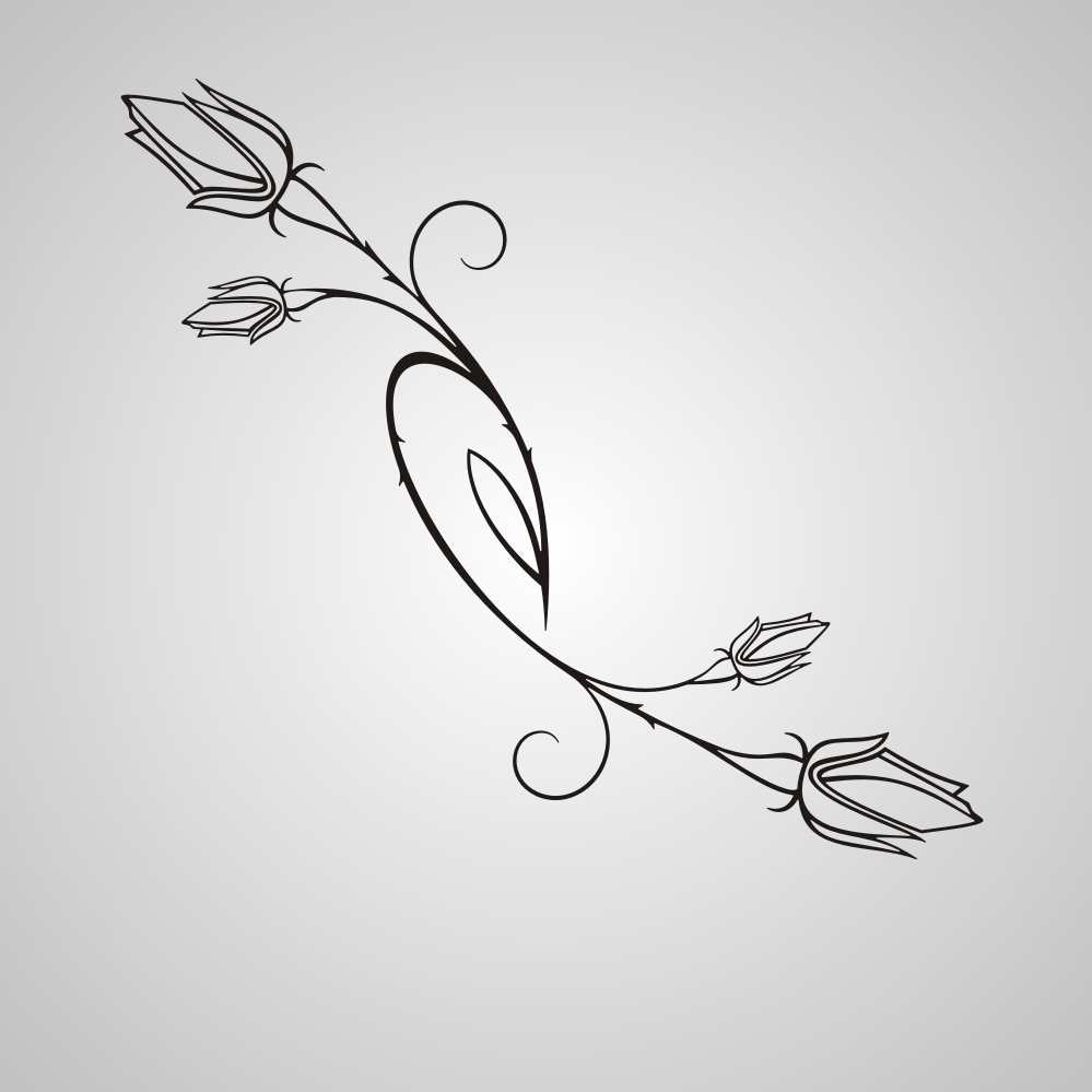 NATURAL ROSE BUDS SKETCH Sizes Reusable Stencil Shabby Chic Romantic Style 'Flora3_82'