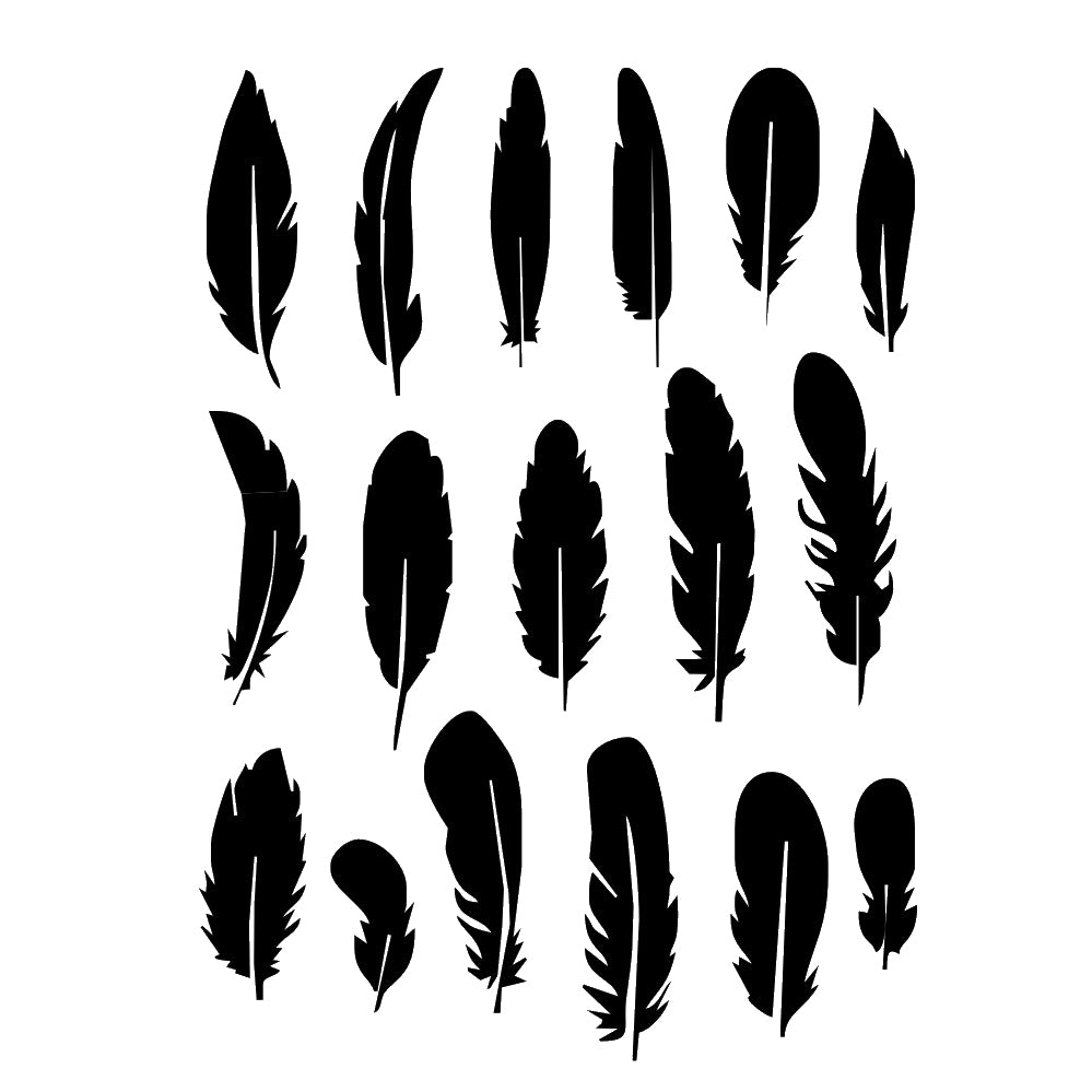 Set of feathers Reusable Stencil A5 A4 A3 & Bigger Sizes Wall decor Shabby Chic Style / DECO43