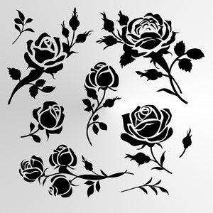 SET OF ROSES Sizes Reusable Stencil Shabby Chic Floral Style 'Rose3'