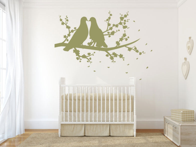 LOVE PIGEONS ON THE TREE BRANCH Big & Small Sizes Colour Wall Sticker Shabby Chic 'Bird106'