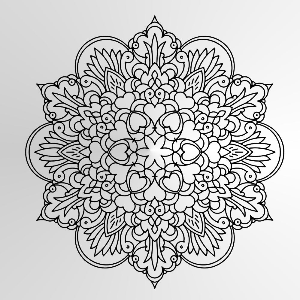 Mandala Hearts Flowers SIZES Reusable Stencil Wall Decor Bohemian Oriental / M10