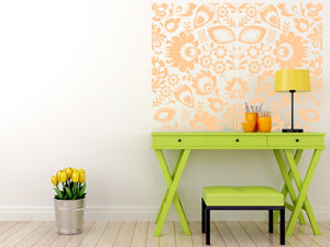 FOLKLORE FLORAL MOSAIC Big & Small Sizes Colour Wall Sticker Floral Romantic Style 'Folk3'