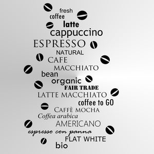 COFFEE Big & Small Sizes Colour Wall Sticker Modern Style Wall Decor Espresso Latte 'Cafe1'
