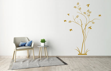 TREE AND BIRDS Big & Small Sizes Colour Wall Sticker Modern Floral Shabby Chic Style 'Tree89'