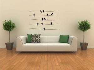 SITTING BIRDS ON THE LINES Big & Small Sizes Colour Wall Sticker Shabby Chic Romantic 'Birds119'