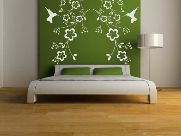 humming-bird in fowers big & small sizes colour wall sticker shabby