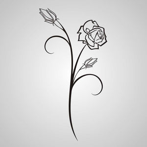 NATURAL ROSE BUDS SKETCH  Big & Small Sizes Colour Wall Sticker Shabby Chic 'Flora3_77'