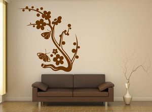 ARTISTIC FLORAL BUTTERFLIES BRANCH Big & Small Sizes Colour Wall Sticker Shabby Chic Romantic 'Ch92'