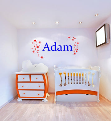 CUSTOM BOY'S NAME Big Sizes Colour Wall Sticker Modern Kids room Bedroom 'STAR2'