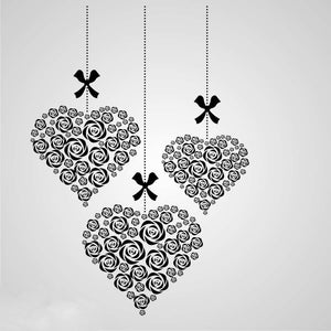 FLOWERS IN HEARTS Sizes Reusable Stencil Shabby Chic Romantic Style 'Deco10'