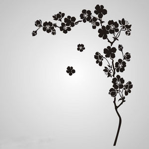 JAPANESE CHERRY TREE CORNER Big & Small Sizes Colour Wall Sticker Oriental Romantic 'Flora18'