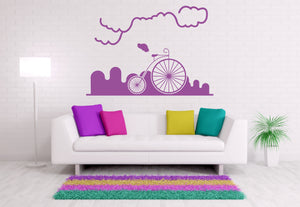 CIRCUS BIKE IN CITY Big & Small Sizes Colour Wall Sticker Modern Travel Style 'Modern1'