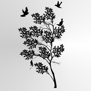 TREE & FLYING PIGEONS Sizes Reusable Stencil Floral Nature Modern Shabby Chic 'Tree35'