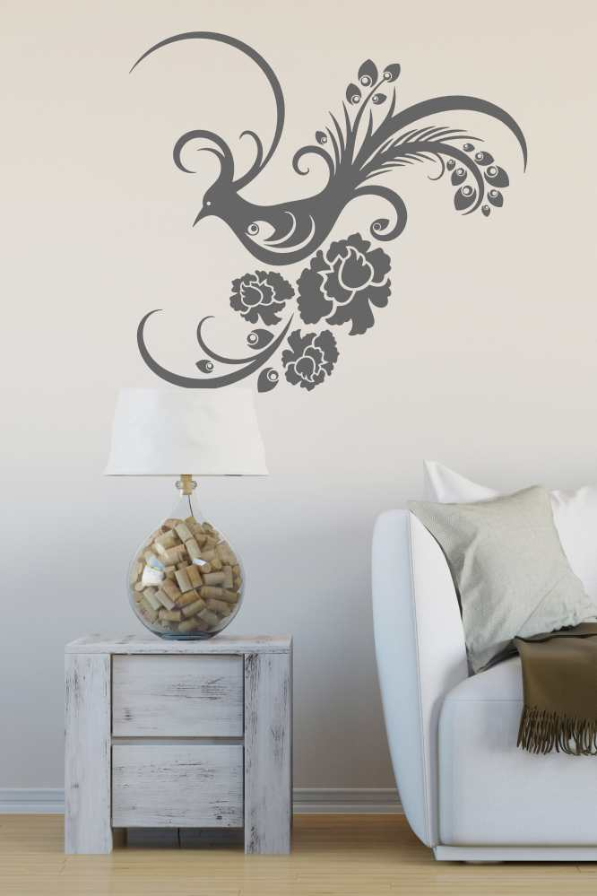 FLORAL PEACOCK & FLOWERS Big & Small Sizes Colour Wall Sticker Shabby Chic Animal 'CH30'