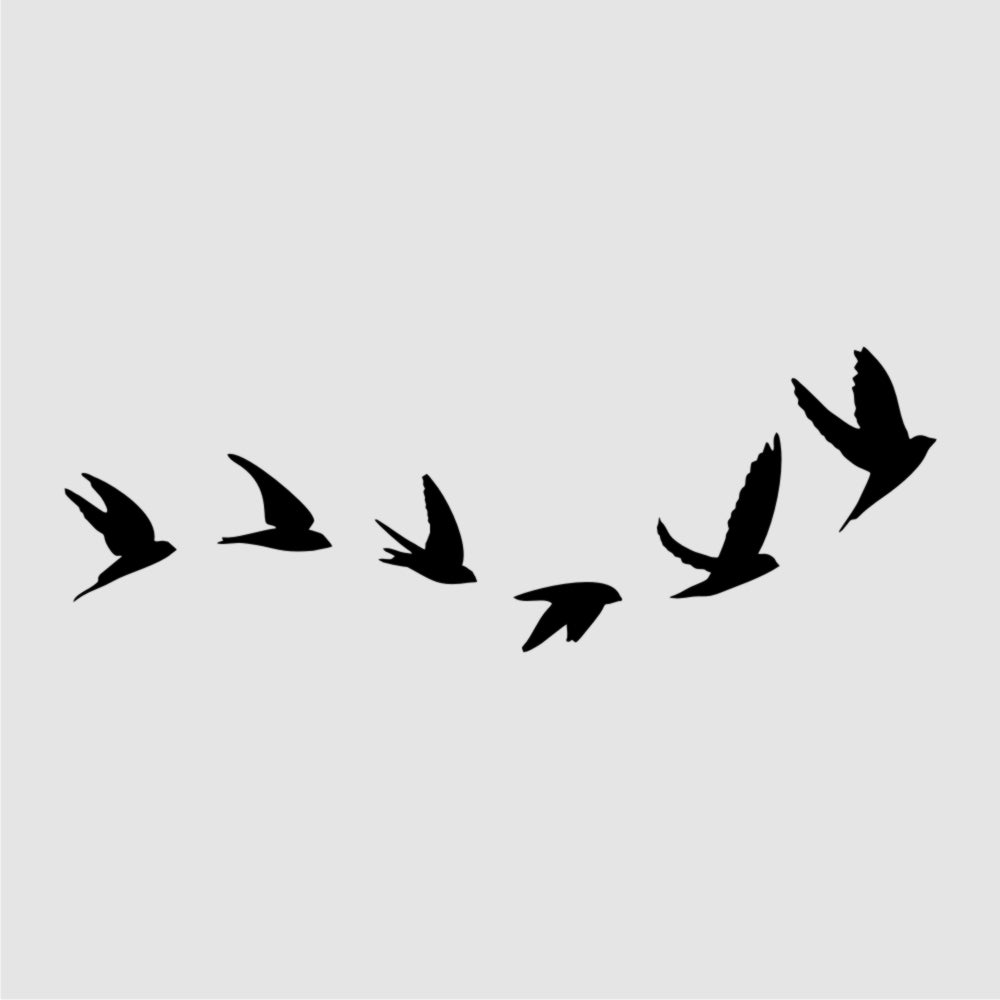 WAVE OF FLYING BIRDS Sizes Reusable Stencil Shabby Chic Romantic Style 'Bird118'