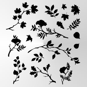 SET OF VARIOUS LEAVES Big & Small Sizes Colour Wall Sticker Shabby Chic Romantic Style 'Leaves1'