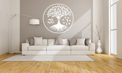 TREE OF LIFE Om Ohm Big & Small Sizes Colour Wall Sticker Floral Modern 'Treeoflife3'