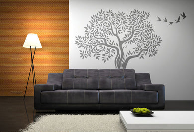 BIG OAK TREE WITH FLYING BIRDS Big & Small Sizes Colour Wall Sticker Shabby Chic 'Tree61'