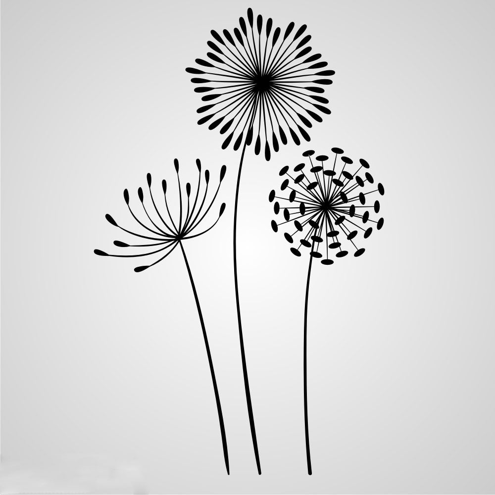 3 KINDS OF DANDELIONS SKETCH Sizes Reusable Stencil Shabby Chic Romantic Style 'Flora23'