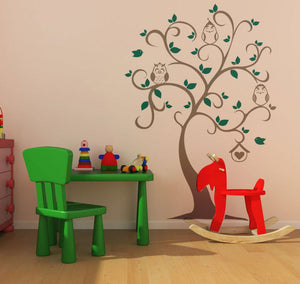 THREE OWLS ON THE TREE KIDS ROOM Big & Small Sizes Colour Wall Sticker Animal Modern 'Kids51'