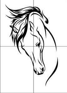 HORSE HEAD ARTISTIC SKETCH Sizes Reusable Stencil Animal Romantic Style 'Animal146'