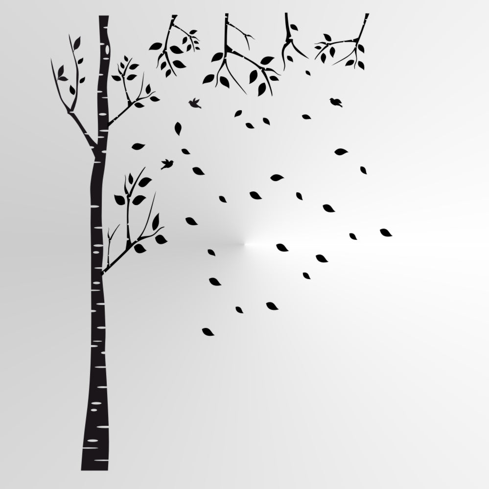 BIRCH-TREE FALLING LEAVES Big & Small Sizes Colour Wall Sticker Shabby Chic Romantic Style 'Tree58'