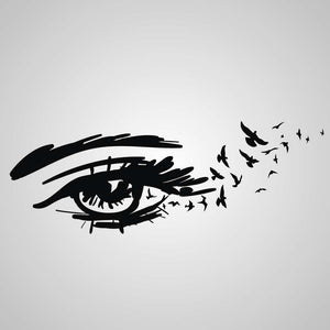 EYE WITH BIRDS WAVE SKETCH Sizes Reusable Stencil Modern Romantic Style / Deco14