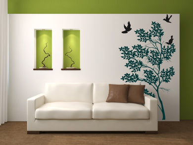 TREE & FLYING PIGEONS Big & Small Sizes Colour Wall Sticker Flora Shabby Chic 'Tree35'