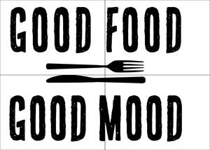 GOOD FOOD = GOOD MOOD QUOTE Big & Small Sizes Colour Wall Sticker Modern Style 'Q21'