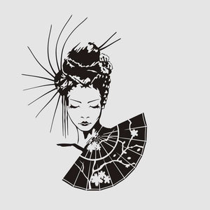 GEISHA WITH A FAN Big & Small Sizes Colour Wall Sticker Modern Oriental Romantic Style 'K4'