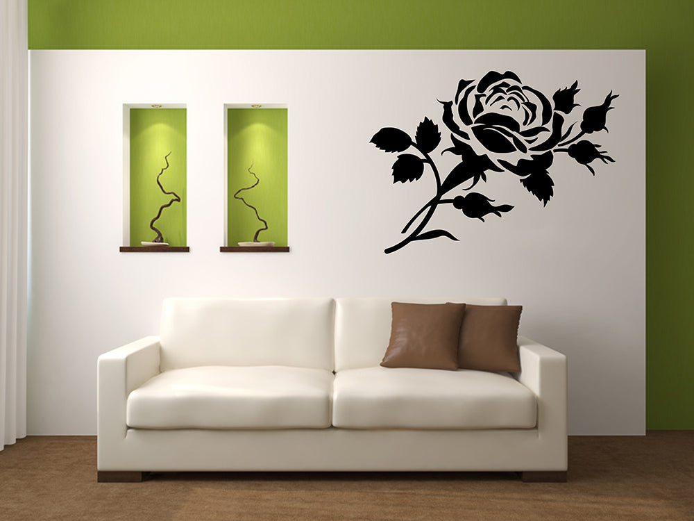 SET OF ROSES Big & Small Sizes Colour Wall Sticker Shabby Chic Floral Modern 'Rose3'