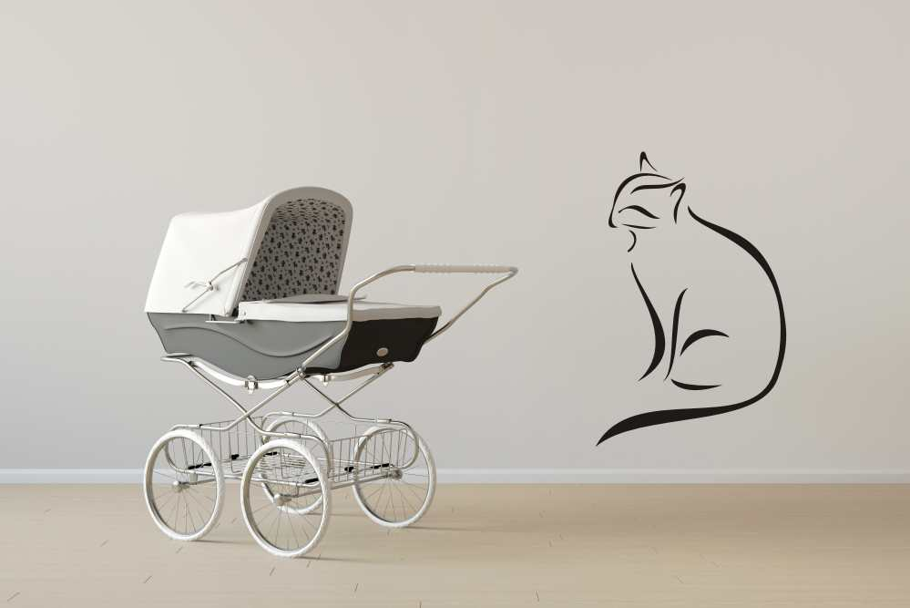 ARTISTIC CAT SKETCH Big & Small Sizes Colour Wall Sticker Animal Romantic Style 'Animal93'